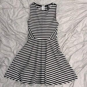 Black and White Striped A line Dress